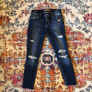Joe's Jeans Skinny Distressed Dark Jeans - 26